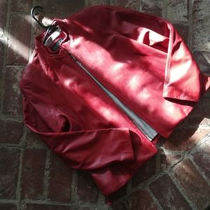 Cherry Red Soft Leather Jacket Large Sierra Studio